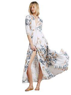 White Floral Shirt Dress Long Duster Beachwear