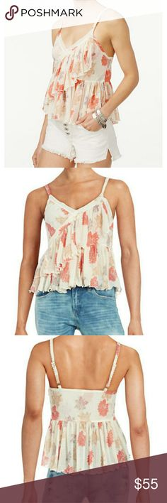 NWT Free People tiered flowy tank top blouse Gorgeous flowy comfortable lightweight blouse. Adjustable straps. Feel free to make an offer! Free People Tops Tank Tops
