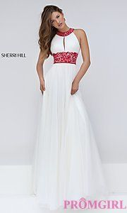Buy High Neck Keyhole Cut Out Long Prom Dress by Sherri Hill at PromGirl