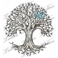 Family Tree Tattoo | Family Tree - Shaded #26673 | CreateMyTattoo.com love the names written on the branches.
