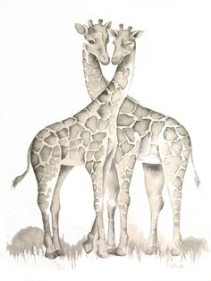 Giraffes in Love, PRINT of my original Watercolor Painting by Katrina Pete, giraffe tattoo watercolor print, infiniti
