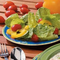 Garden Salad with Lemon Dressing Recipe -I lightened up a tangy salad dressing by replacing some of the oil with lemon juice. The revamped dressing lends a refreshing twist to mixed greens, tomatoes, pepper rings and cucumbers slices.—Martha Pollock, Oregonia, Ohio