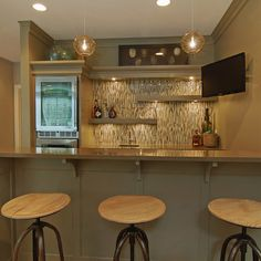 Basement Design Ideas, Pictures, Remodels and Decor  tile and shelves...
