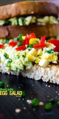 Give Recipe | Avocado Egg Salad | http://www.giverecipe.com.  Great with charred corn, jalapenos, lime juice, and black olives too.