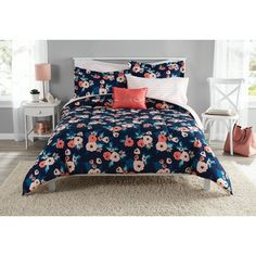 6 Piece Girls Navy Blue Rose Bouquet Comforter With Sheet Twin Twin Xl Set, Coral Pink Whimsical Floral Blooms Pattern, Reversible Blush Pink Stripe Kids Bedding Garden Nature Themed Teen, Microfiber Best Quilted Comforter, Set USA Floral Comforter, Comforter Sets, King Comforter, Blue Comforter, Weighted Comforter, Bed In A Bag, Shabby, Teen Girl Bedrooms, Bed Sets