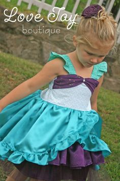 Girls dress Little Mermaid boutique hand made by LoveTayBoutique, $89.00