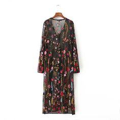 Brand New Sexy Women Dress V Neck Embroidery Dresses Fashion Basic Feminino Vestidos Mesh Floral Embroidered DressQZ0089