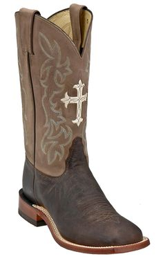 Tony Lama® Ladies Chocolate and Tan with Cross Double Welt Wide Square Toe Boots | Cavender's