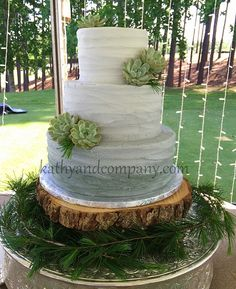 Grey ombre wedding cake with fresh succulents.