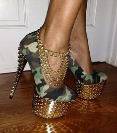 Red Kiss Jada Camouflage Spiked Pumps .