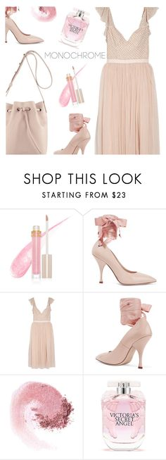 """""""One Color, Head to Toe"""" by annbaker ❤ liked on Polyvore featuring Stila, Miu Miu, Needle & Thread, NARS Cosmetics, RED Valentino, Victoria's Secret and monochrome"""