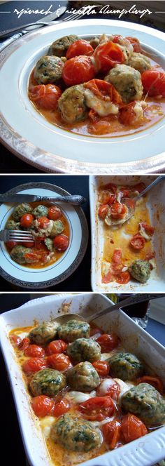 Spinach & ricotta dumplings with cherry tomato sauce!