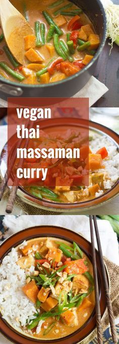 Crispy pan-fried tofu, veggies and tender sweet potato chunks are simmered in a peanutty Thai-spiced coconut curry sauce to create this flavorful vegan massaman curry.