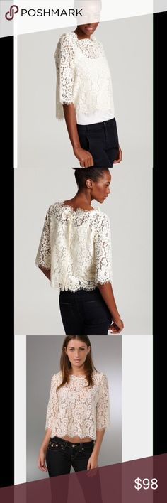 """Joie. """"Elvia"""" Lace Top Joie. """"Elvia"""" Lace Top. Joie's sheer lace top lends ladylike romance to your fall repertoire. Anchor the whimsical feel with skinny cargos. Boatneck, three-quarter sleeves, fringed neckline, sleeve ends and hem Eight buttons down back, requires a camisole underneath Unlined. Nylon/cotton. Dry clean. Imported Joie Tops Blouses"""