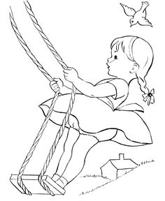 Vintage Embroidery Patterns This is how I used to swing on a rope swing from a high tree limb - These free, printable kids coloring sheets and pictures are fun for children. Coloring page of kid Summer Coloring Pages, Cool Coloring Pages, Printable Coloring Pages, Adult Coloring Pages, Coloring Pages For Kids, Coloring Sheets, Coloring Books, Kids Coloring, Free Coloring