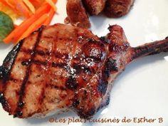 Pork chops with maple and dijon mustard from Esther .- Esther pork chops with dijon mustard b – Ingredients cup ml) oil cup ml) apple juice 3 tsp. Backyard Barbeque, Barbecue, Mustard Pork Chops, Bbq Ribs, Esther, Bacon, Dinner Recipes, Food And Drink, Cooking Recipes