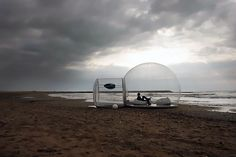 Portable, inflatable dwellings. Ridiculously expensive, but a cool idea.