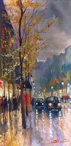 """""""Prague Old Street Vaclavske Namesty 01"""" - by Yuriy Shevchuk,  Oil"""