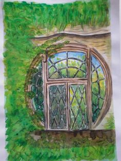 Hobbit window watercolour and coloured pencils