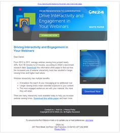On24 webinar provider promoting the download of a whitepaper