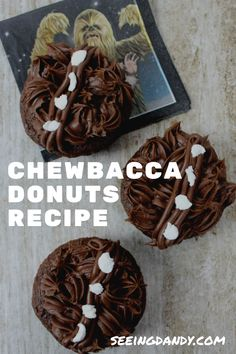 This chocolate Chewbacca donuts recipe is perfect breakfast on Star Wars Day, May 4th! #recipes #chewbacca #starwars #disneyfood #disneyland #donuts #disneyworld #desserts #disneylove #donut #disney #breakfast #foodie #nomnomnom