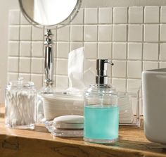 Keep it simple by using clear accessories for the bathroom #bedbathntable