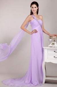 Watteau Train Beading Lilac Evening Dress Patterns with Cutout Back
