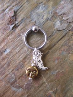 Silver Moon  Gold Sun Tragus Cartilage Ear Piercing Captive Ring Body Jewelry