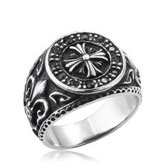 Men's Titanium Fleur de Lis Cross Ring
