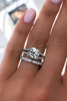 30 The Most Stunning Bridal Sets ❤️ bridal sets round cut diamond ❤️ See more: http://www.weddingforward.com/bridal-sets/ #weddingforward #wedding #bride #engagementrings #bridalsets