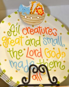 colorful Noah's Ark keepsake baby plate; zoo animals; boat; the Lord made them all