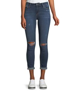 The Icon Distressed Rolled-Cuff Ankle Jeans, Blue