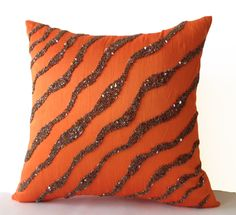 Decorative Throw Pillows -Orange Brown Sea waves in silk sequin bead cushion-16X16 Orange pillow -Bedding -Pillow cover -gift pillow -Autumn