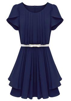 Sapphire Blue Falbala Pleated Short Sleeve Wrap Chiffon Dress | Symmetrical much..
