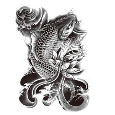 Fish tattoo & Buddha tattoo (Set 2) - Large Black Temporary tattoo for Men/ Women - (Koi Fish-Buda tattoo)