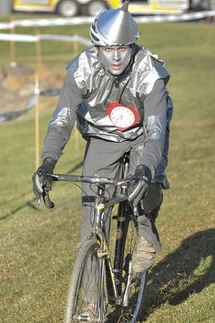 The tin man on his ride of choice.