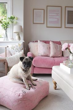 This living room design has it all. Pink accents may feel risky in a living room but pair with white accents and subtle pink touches to tie it all together. Living Room Designs, Living Room Decor, Romantic Living Room, Pink Couch, White Couches, Cute Home Decor, Pink Room, Sofa Furniture, Floor Pillows