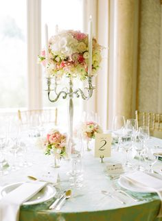 Tall #centerpieces for a ballroom reception. Photography: Katie Stoops Photography - katiestoops.com  Read More: http://www.stylemepretty.com/2014/05/13/portugal-palace-destination-wedding/