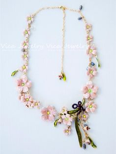 2014 Original Les Nereides*** enamel vintage statement pendant necklaces sakura pink convallaria majalis chunky necklace 019E9 $73,86