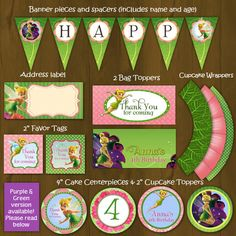 Tinkerbell Printable Birthday Party Package - Tinkerbell Pink and Green Complete Birthday Set - favor tags, banner, toppersetc
