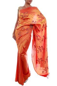 Orange Mysore Silk Saree by Julie Kagti