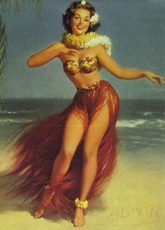 Dancing Hawaiian Pin Up by Bill Medcalf - #hula #hawaiian #dancer #dance #fire #luau #miami #photo #beautiful