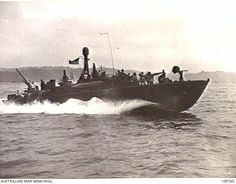 MOROTAI. 24 JUNE 1945. A REHEARSAL FOR THE OBOE 2 OPERATION WAS CONDUCTED BY OBOE 2 ATTACK GROUP IN CONJUNCTION WITH 7 DIVISION IN THE MIRA RIVER AREA. SHOWN, A UN PATROL TORPEDO BOAT, CARRYING ... Pt Boat, Royal Australian Navy, East Indies, Oboe, Second World, World War Two, Mtb, Division, Boats