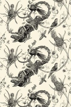SWP/IGU/IVY/01    Iguana Superwide    £45.00  Per Metre    Superwide Iguana Wallpaper    Color: Black on Ivory    Width (mm): 1350    Repeat (mm): 831    Style: Straight Over    Material: Paper    Min order: 1 metre