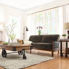 TRIBECCA HOME Mission Dark Brown Champion Fabric Sofa