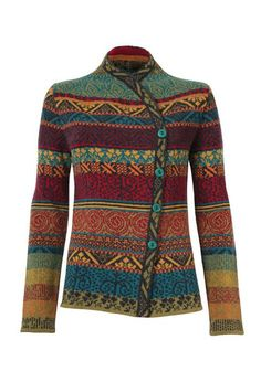 Warm and reliable jacquard jacket with an asymmetrical front closure adorned with rustic wooden buttons. Fair Isle Knitting Patterns, Sweater Knitting Patterns, Crochet Cardigan, Lace Knitting, Crochet Patterns, Knitted Jackets Women, Cardigans For Women, Jackets For Women, Punto Fair Isle