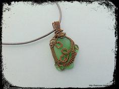 Wire woven seaglass pendant / Морско стъкло, оплетено с тел | by rozantia