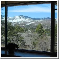 View of Jemez Mountains from Los Alamos library. Beautiful library with a beautiful view.
