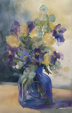 Blue vase with roses and iris by Sarah Yeoman Watercolor ~ 21 x 14
