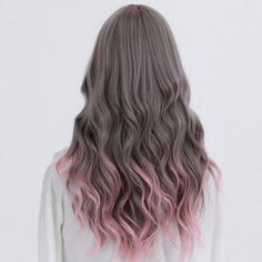 Ash brown hair with pastel pink tips, how can we not love this? #pinkhair
